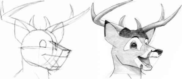 Drawn dear animated Human Deer 3 Deer Joshua
