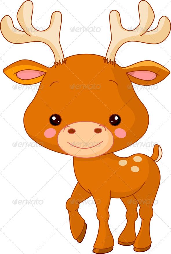 Drawn dear animated Card cartoon Deer cartoon zoo