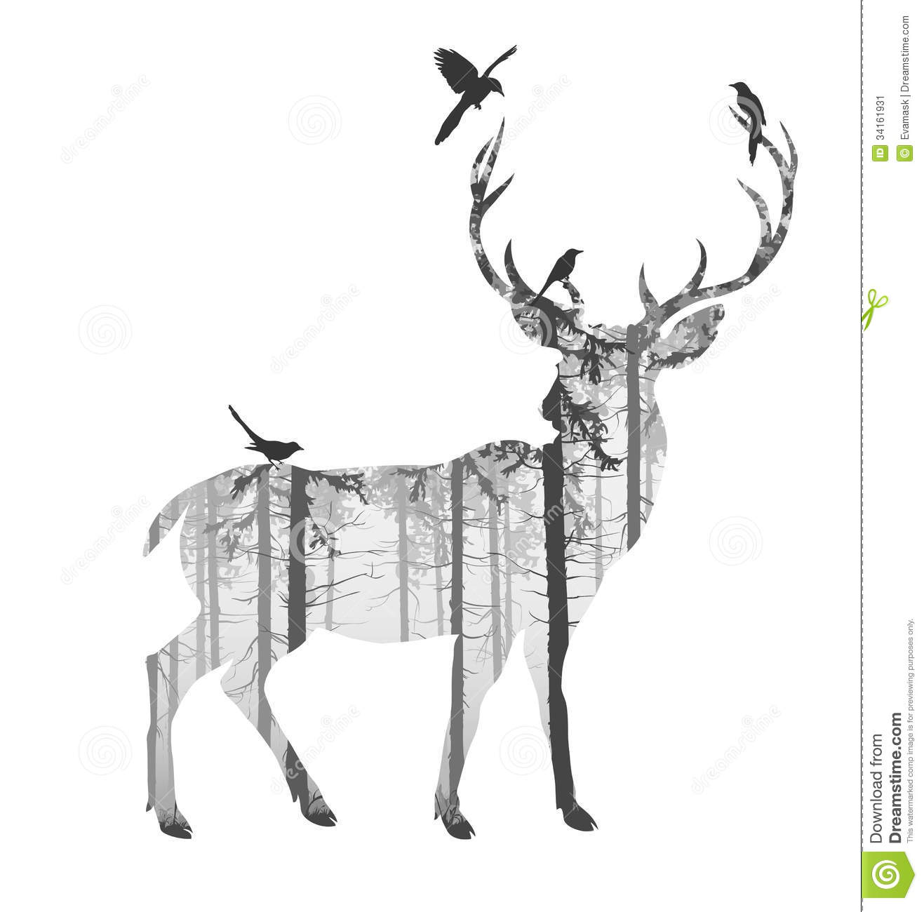 Drawn reindeer black and white Crafthubs Silhouette Silhouette Deer