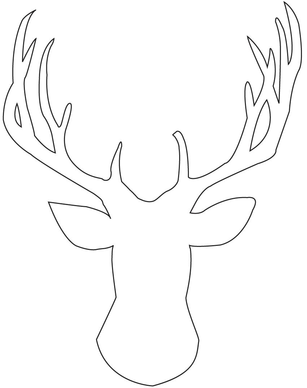Drawn buck woodcut F head R T deer