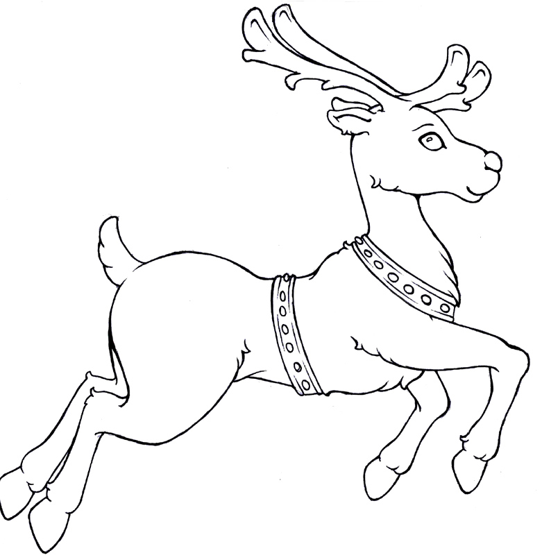 Drawn reindeer flying Reindeer Coloring  Pages Run