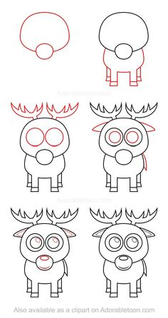 Drawn reindeer step by step And To A Draw square