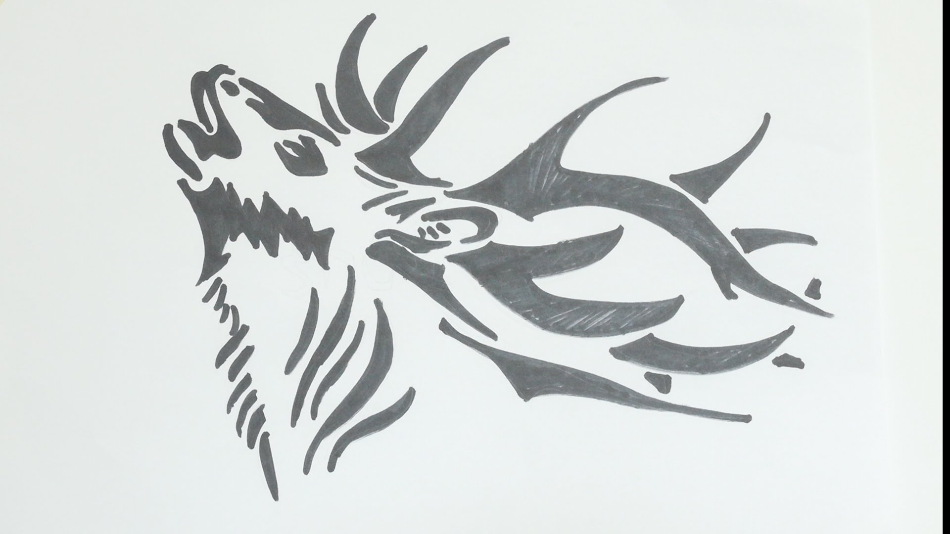 Drawn reindeer tribal Deer Stock Big Heads Deer
