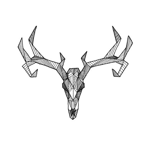 Drawn stag geometric Drawing on PigmentPlusSurface Original from