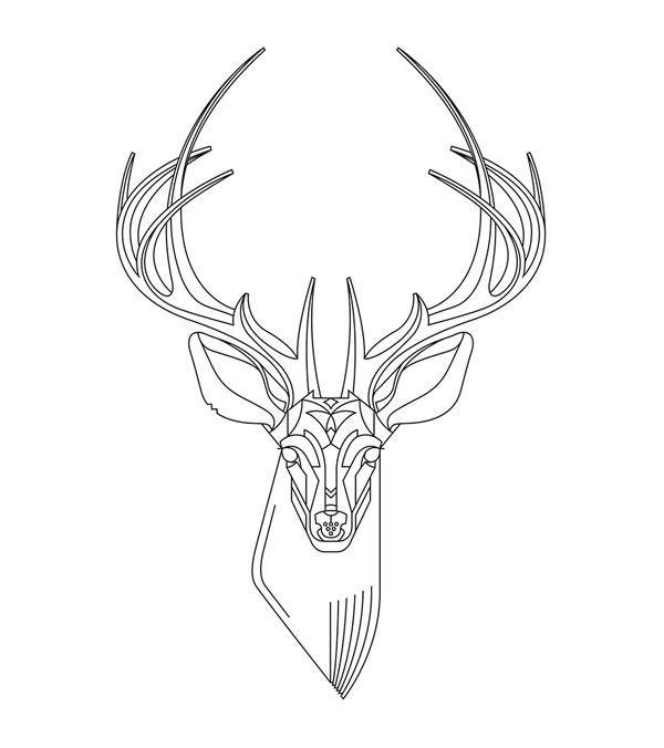 Drawn stag full body Best on head designs ideas