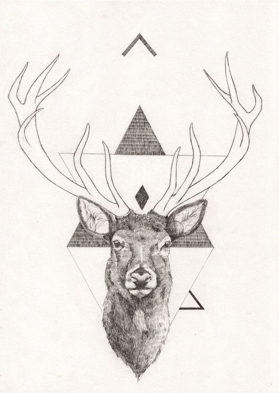 Drawn reindeer hipster On best Etsy Pinterest £90