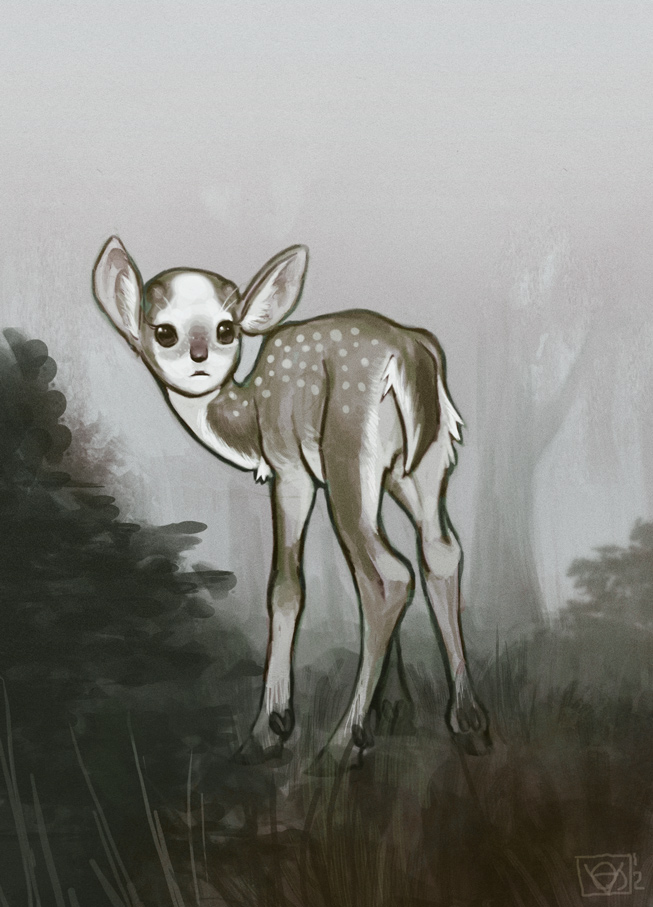 Drawn buck the endless forest Forest The child careful Forest