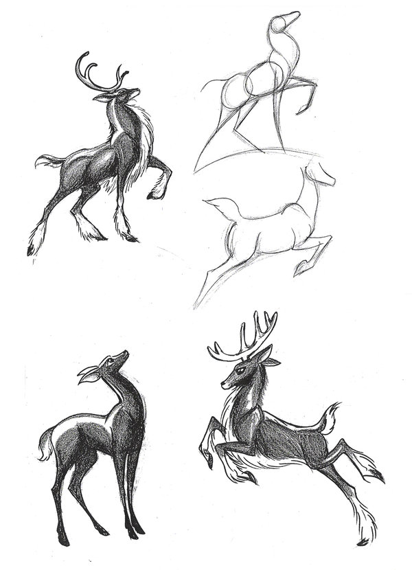 Drawn reindeer sketch 1 by on Huang Diana