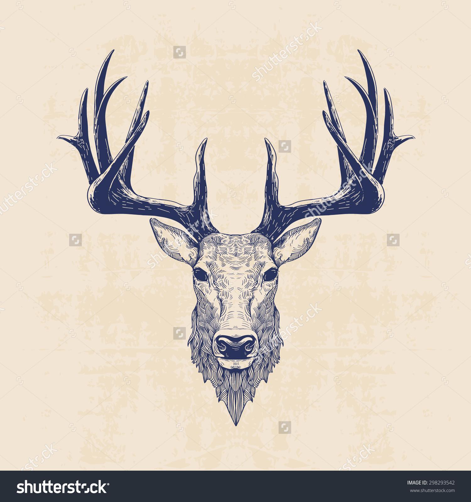 Drawn reindeer reindeer head Stock Deer Head Vintage Deer