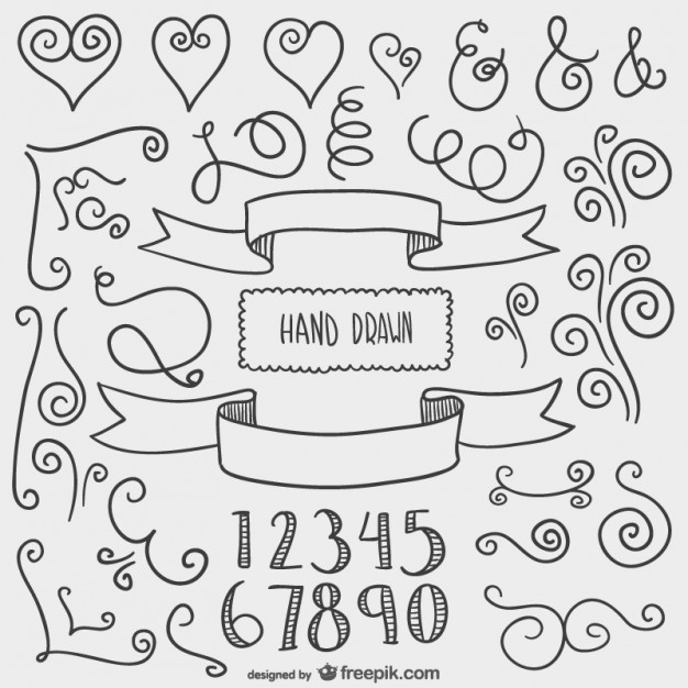 Drawn ornamental chalkboard Graphic elements graphic Drawn Ornaments