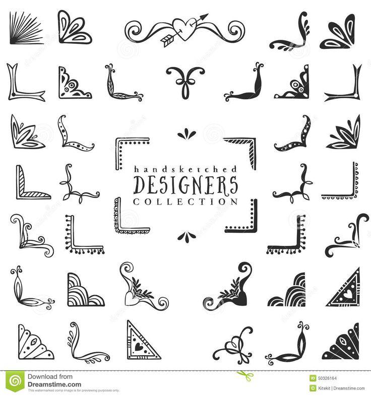 Drawn decoration Hand 25+ corners vector Best
