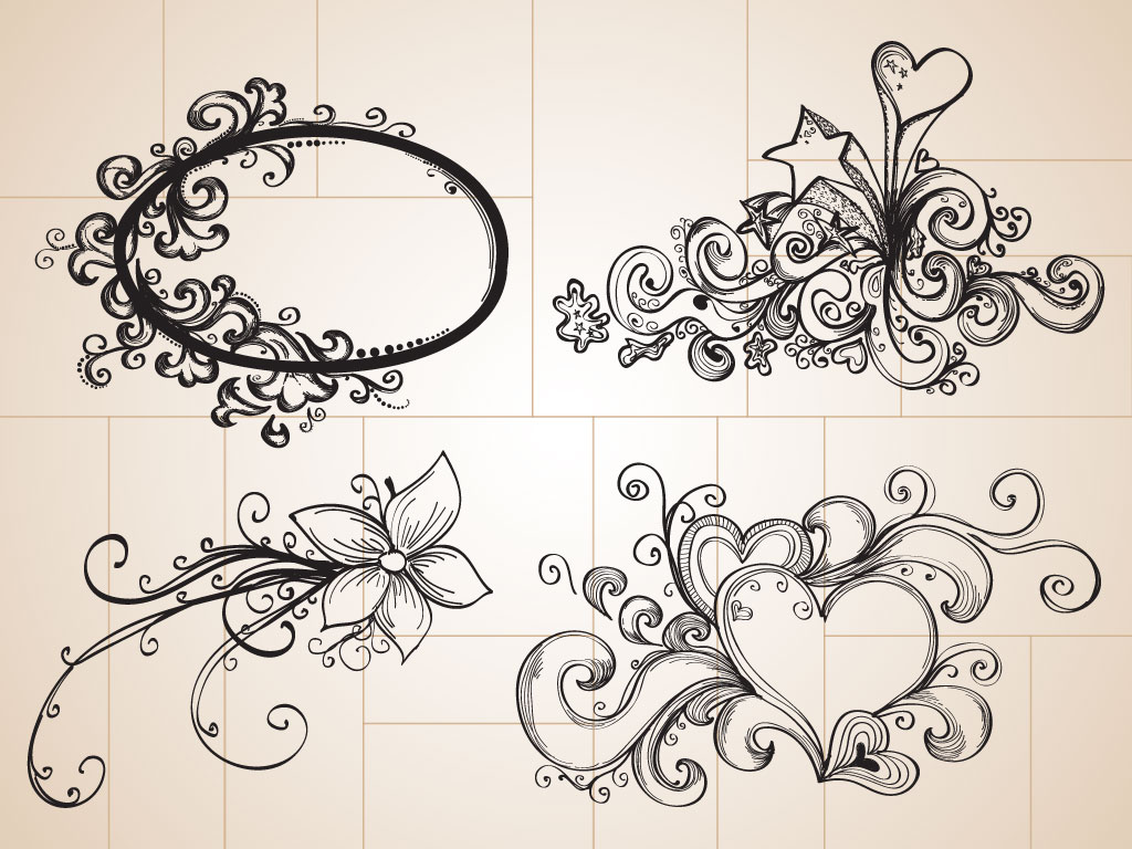 Drawn ornamental black and white Use cool decorative ornaments Drawings