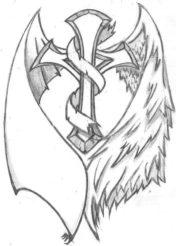 Drawn angel cross Tattoo Pinterest angel Google My