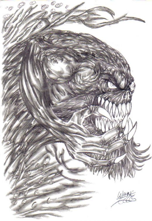 Drawn demon demonic creature By Monster Creature on by