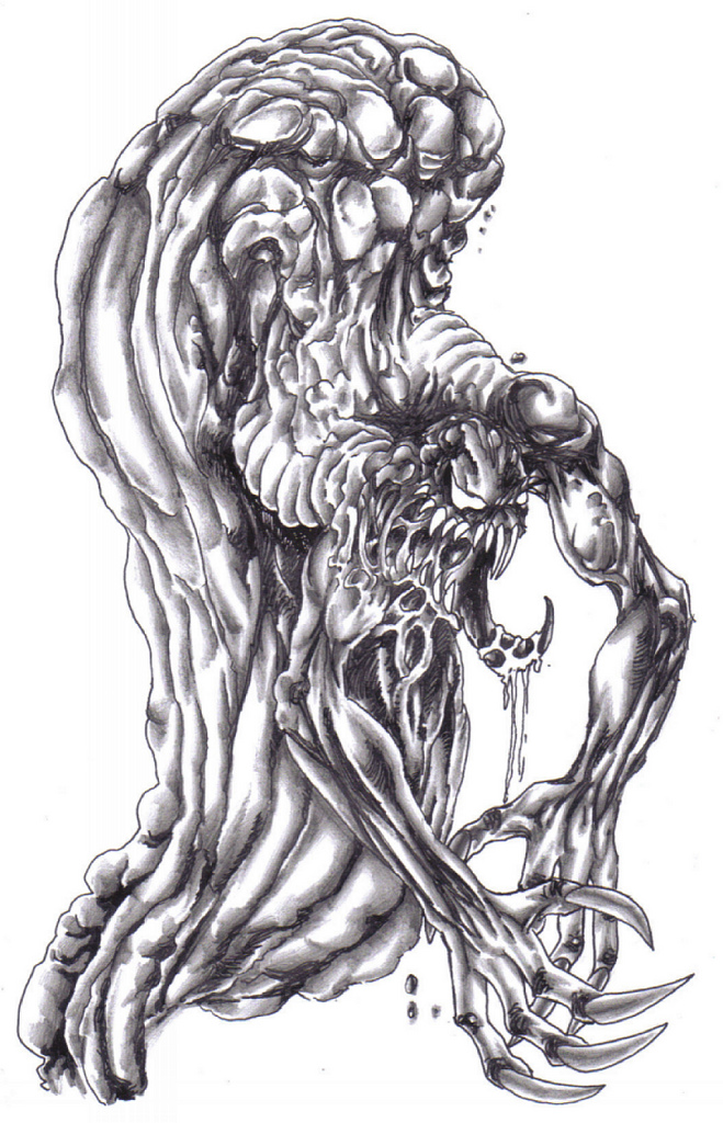 Drawn demon demonic creature Creature hubpages Scary Tully Creature