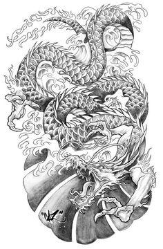 Drawn demon dragon Done a of a Chock