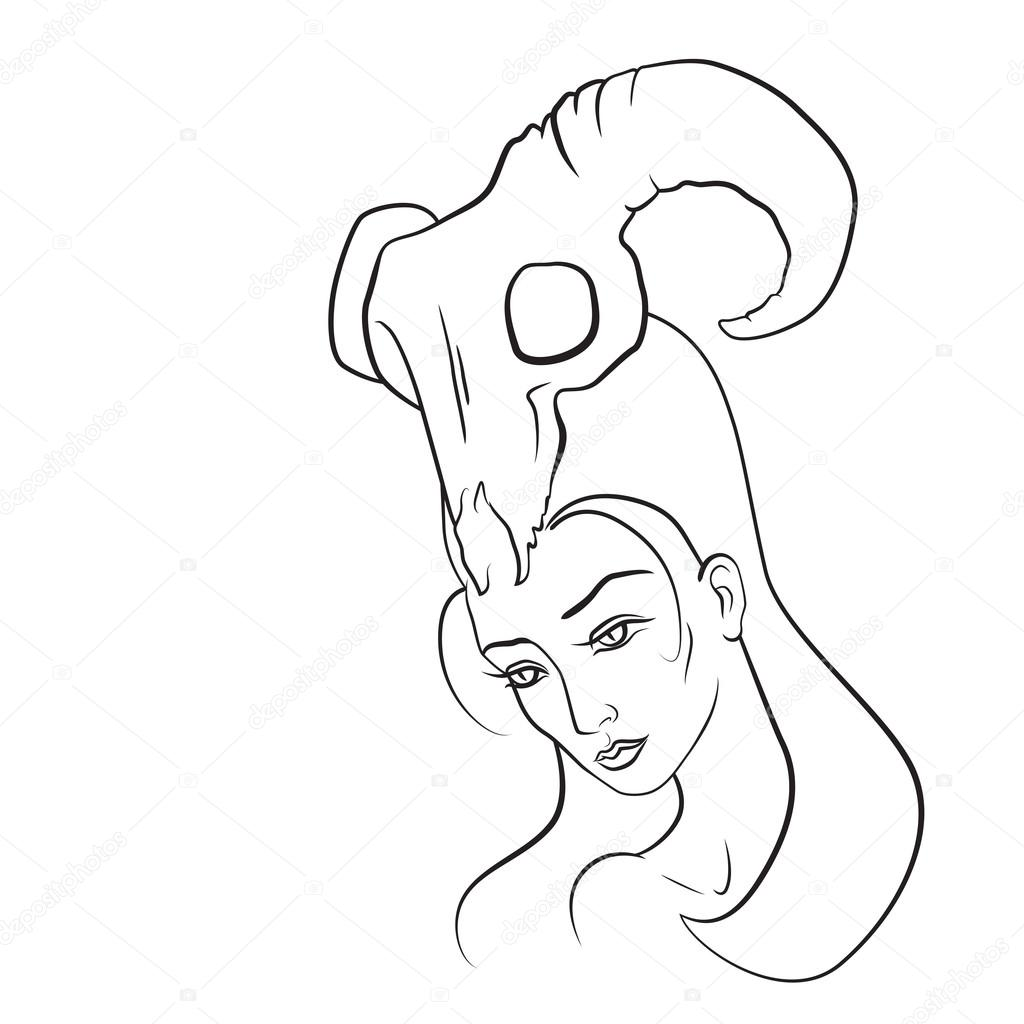 Drawn demon head With vadimrysev her Vector woman