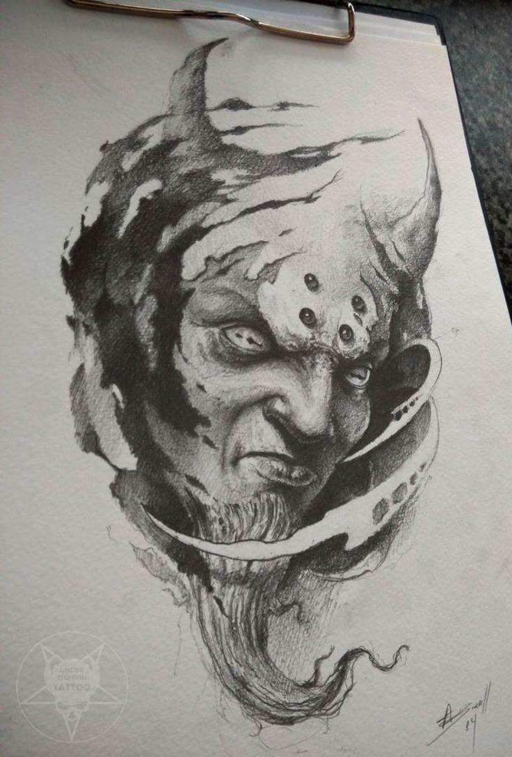 Drawn demon head Eye Tattoo head best demon