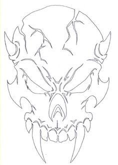 Drawn demon head Skull Evil Demon Skull Skull