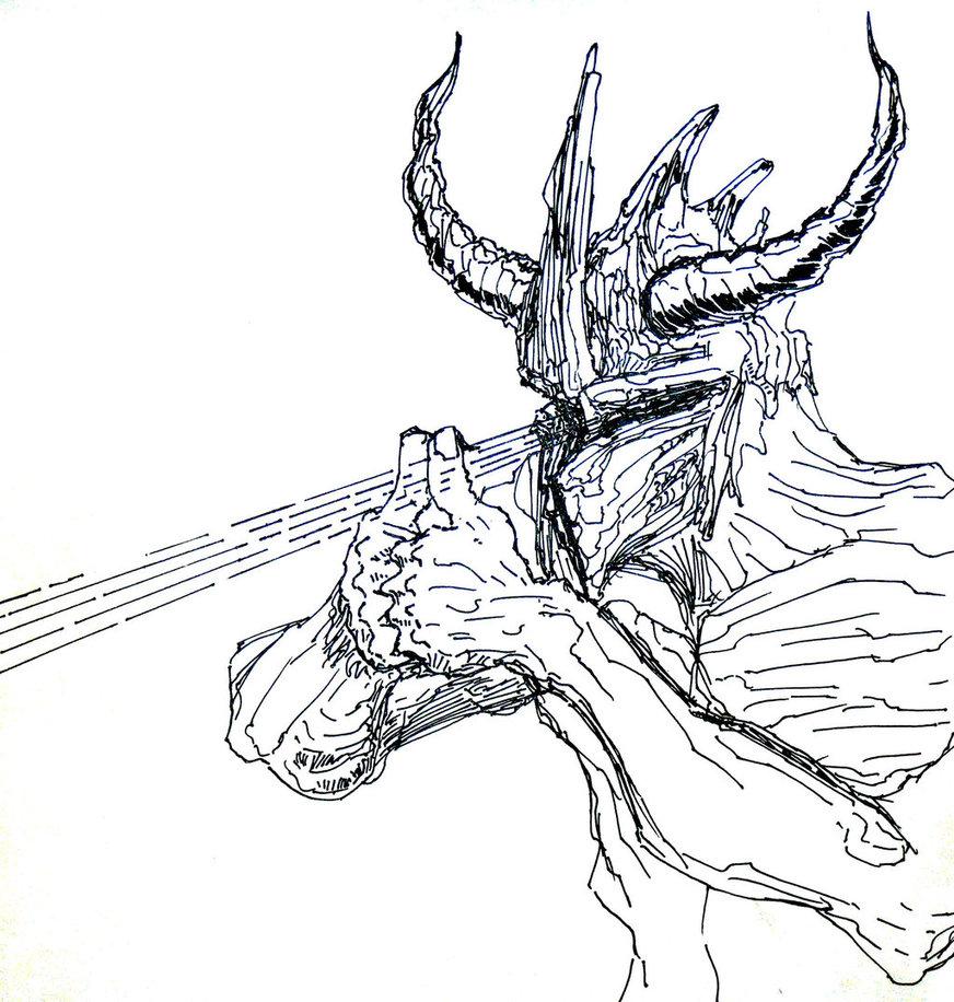 Drawn demon horned demon #10