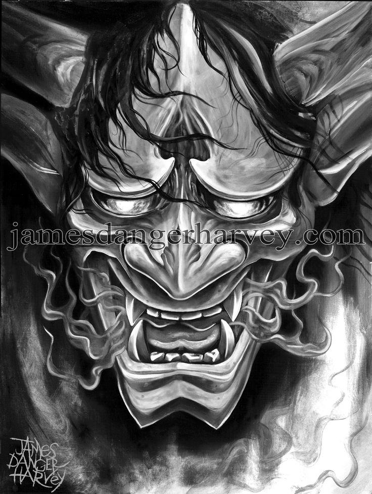Drawn ninja demon Hannya on japanese Best Pinterest