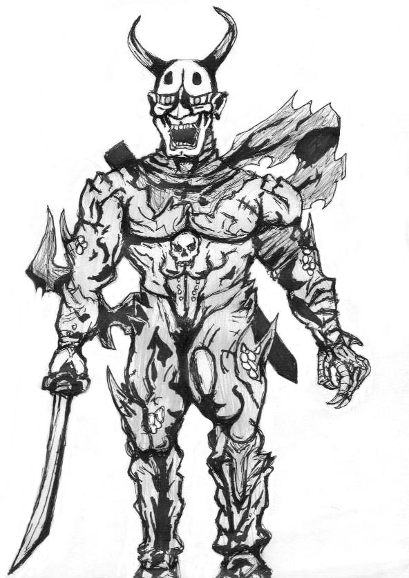 Drawn samurai demonic By by Oni Samurai Besieged