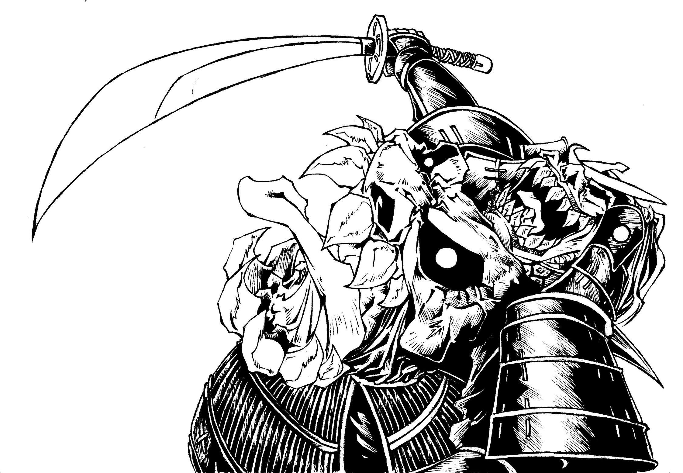 Drawn samurai demonic Revised Bishamon Samurai Demon revised