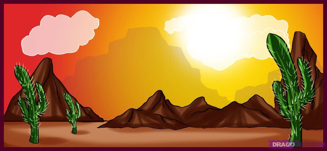 Drawn desert Step draw to Step Landmarks