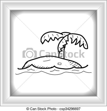 Drawn island deserted Hand  Simple doodle island