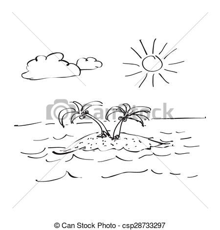 Drawn island black and white Vectors desert desert Simple of