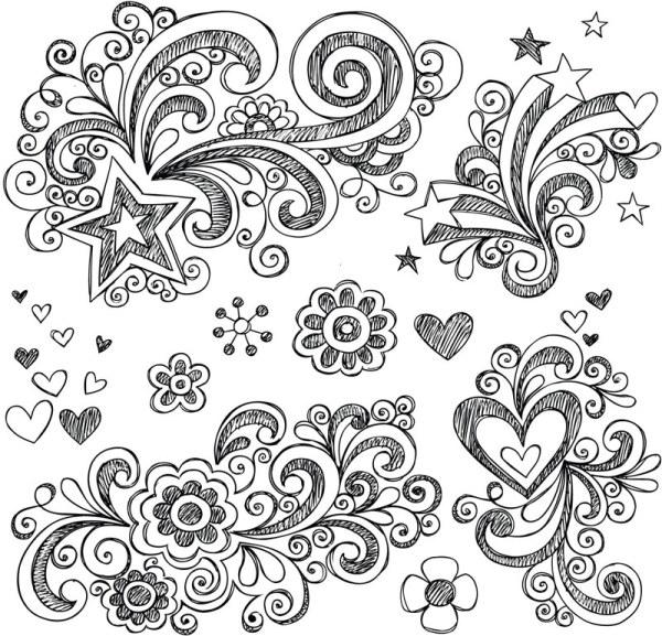Drawn pattern water 02 set Hand decor drawn