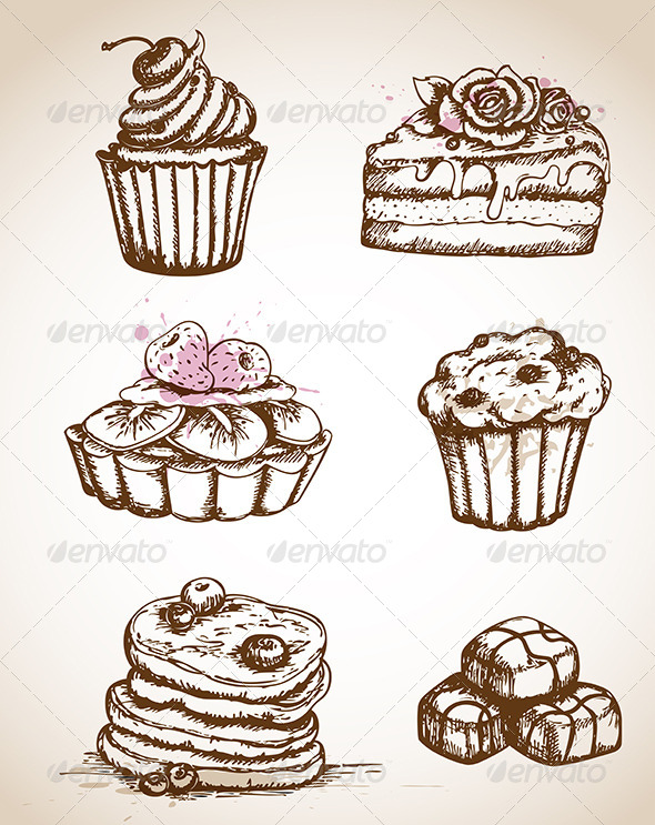 Drawn sweets vintage cake Http://vector DOWNLOAD :: ai psd)