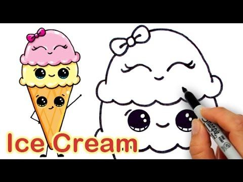 Drawn waffle cone soft serve Draw cupcakes Cream on to