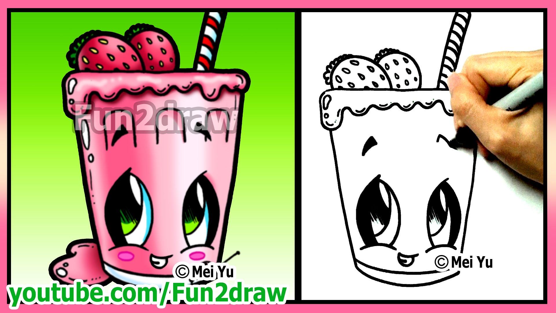 Drawn strawberry fun2draw Smoothie Fruit Funny Food Easy