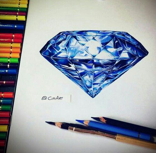 Drawn diamonds blue #15