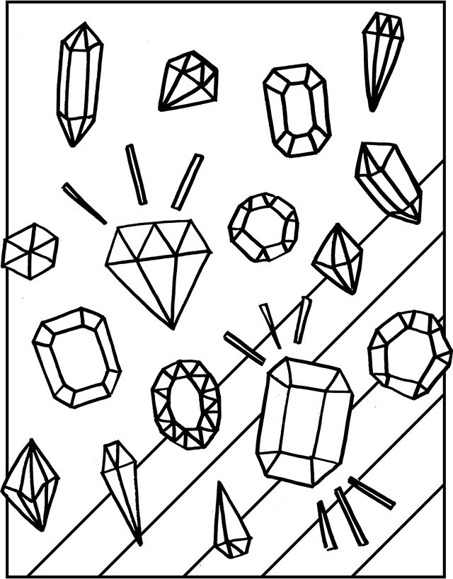 Diamond clipart coloring page Page Gemstones Coloring Gemstones Free