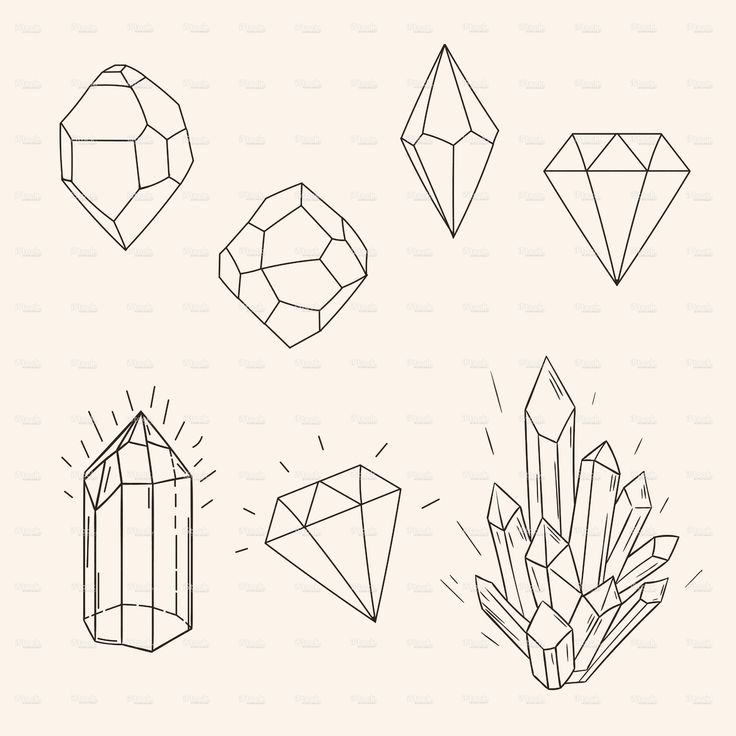 Crystals clipart diamond outline Sketch vector set drawing 71914669