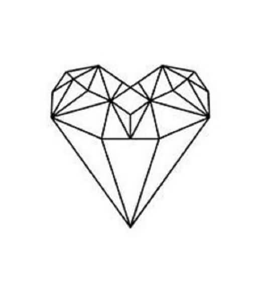 Drawn hearts diamond Shaped Tattoo diamond ideas heart