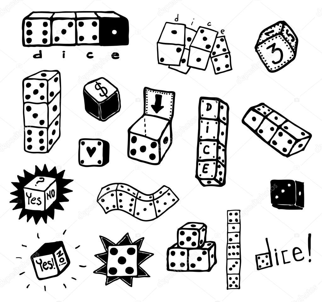Drawn dice Drawing Dice hand sket of