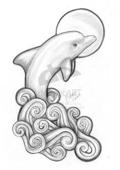 Bottlenose Dolphin clipart drawn #14