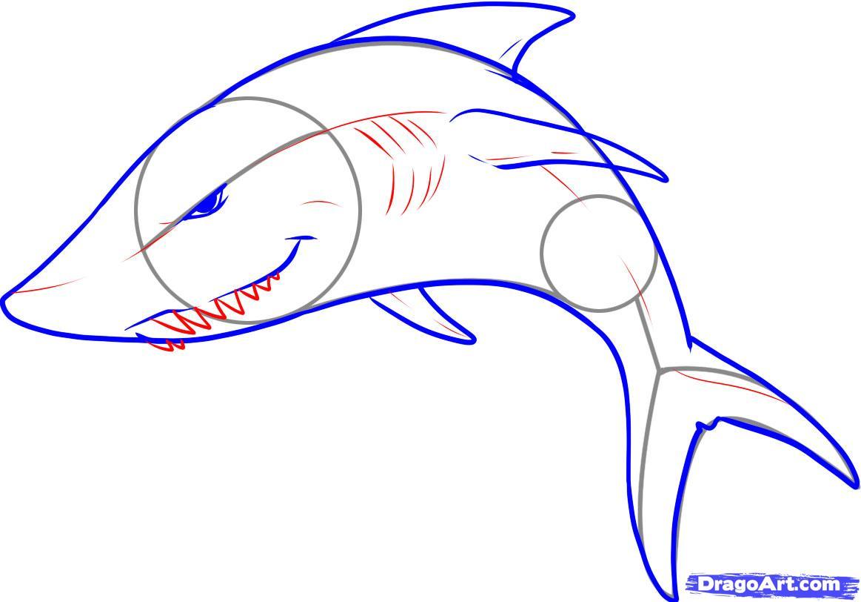 Drawn shark graffiti Step How Shark an an