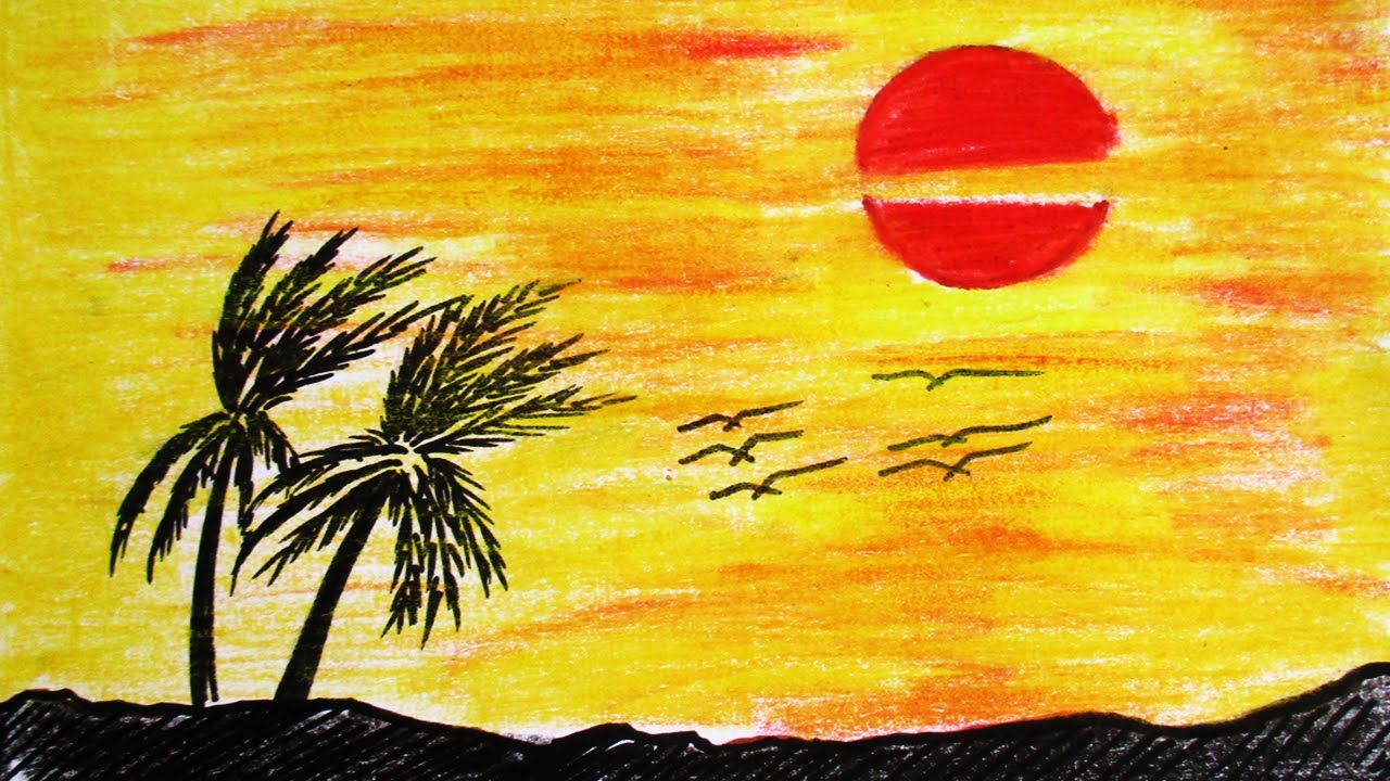 Drawn sunrise color Sunset to Scenery to sunset