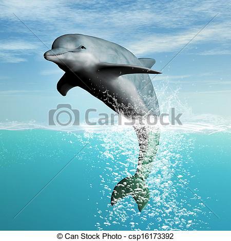 Bottlenose Dolphin clipart drawn #4