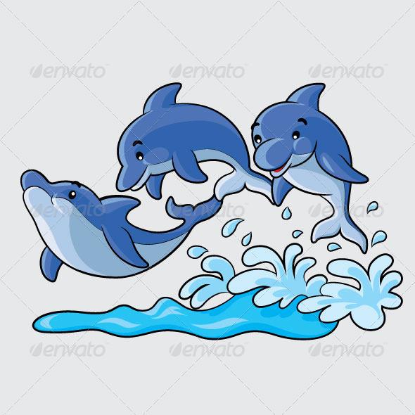 Bottlenose Dolphin clipart ocean animal Cartoon design dolphins cute Dolphins