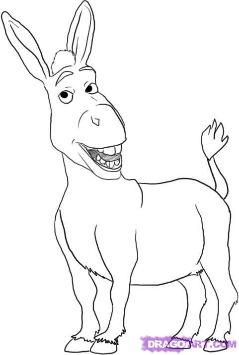 Drawn donkey 5 Shrek draw to step