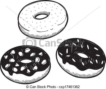 Drawn doughnut Of doodle on Vector Vector