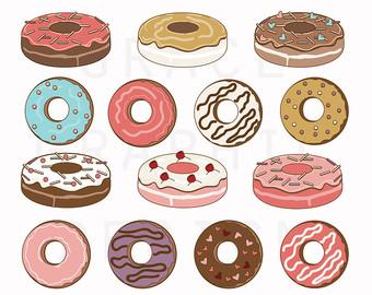 Drawn dougnut Hand digital illustrations Clipart Etsy