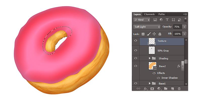 Drawn dougnut — a Photoshop Donut Icon