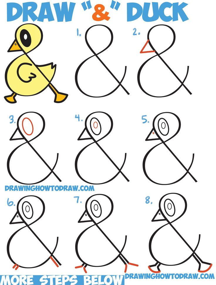 Drawn rock easy Ampersand Letters to Duck Cartoon