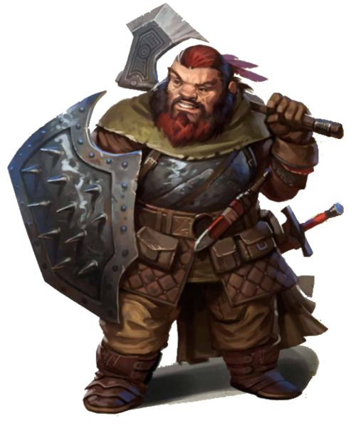 Drawn dwarf barbarian warrior Spiked Fantasy shield Paladin warrior